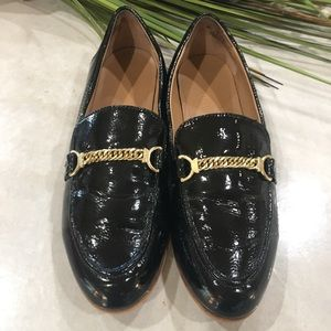 Franco Sarto Black Flat Loafers Size 6